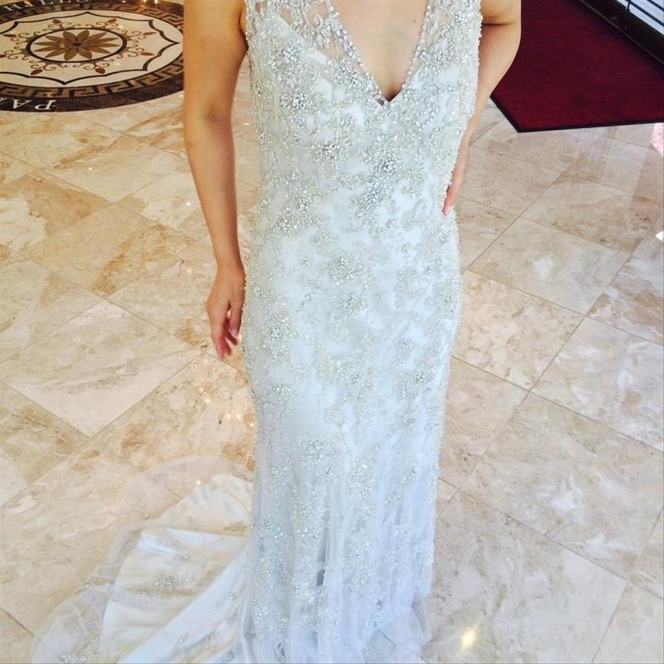 Allure Bridals Ivory Beaded Lace Couture Vintage Wedding Dress Size ...