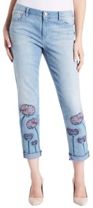 American Vintage Flower Boyfriend Cut Jeans-Medium Wash