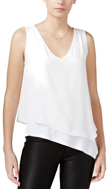 Bar lll Iii Asymmetrical Layered Look Washed White Top Bar lll Iii Asymmetrical Layered Look Washed White Top Image 1