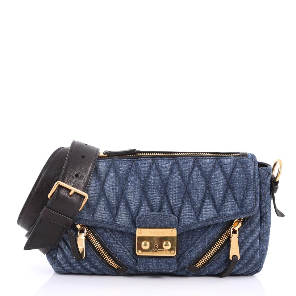 Miu Miu Biker Matelasse Medium Blue Denim Shoulder Bag - Tradesy af46dd79c0cd7