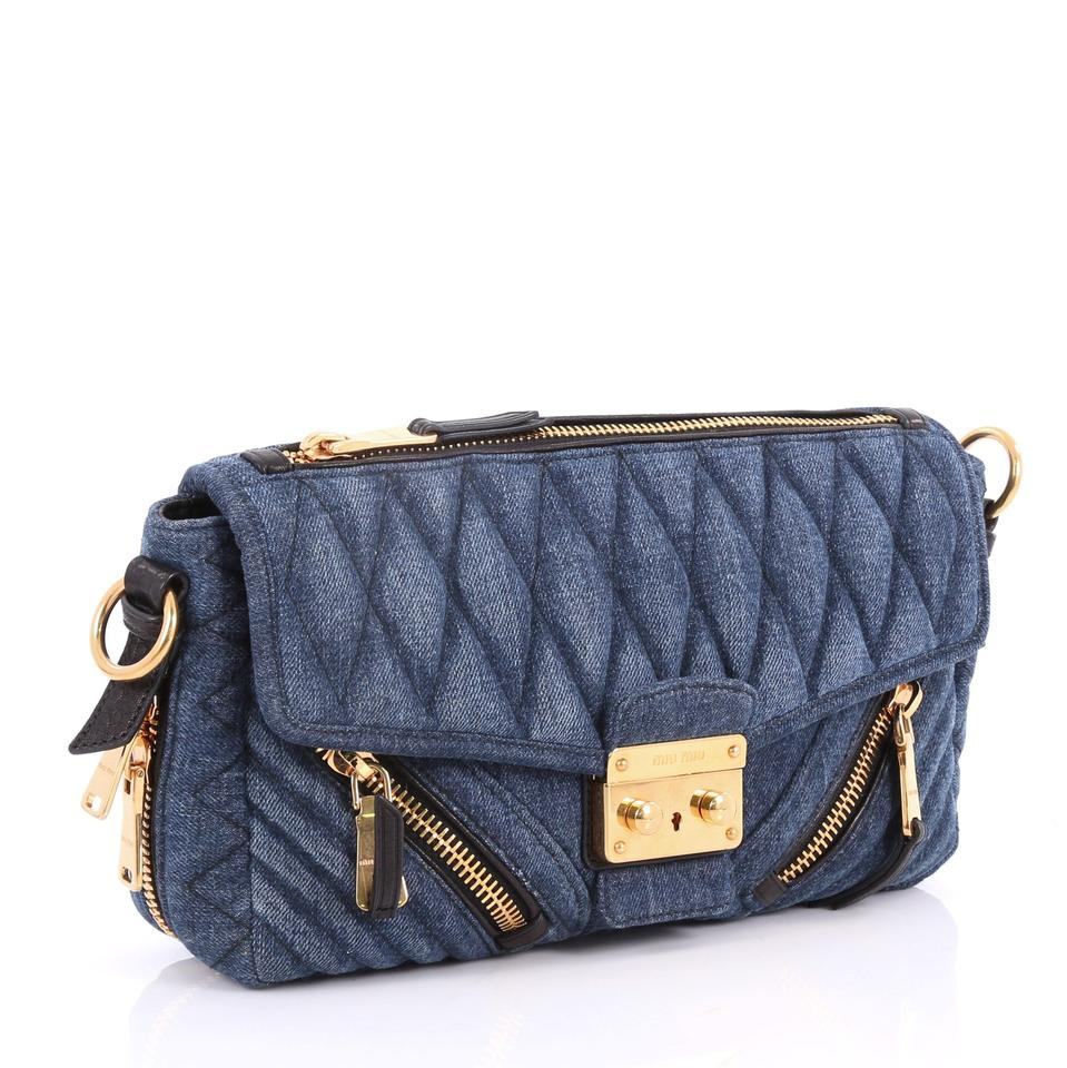 f89e56962209 Miu Miu Biker Matelasse Medium Blue Denim Shoulder Bag - Tradesy