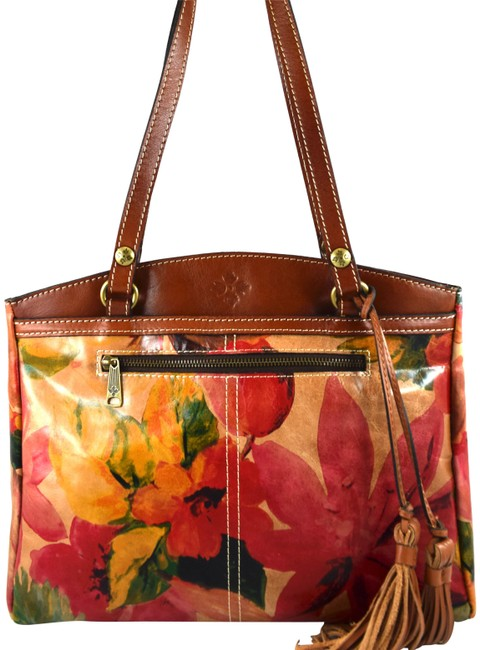 Item - Poppy Pink Brown Spring Multi Floral Leather Tote