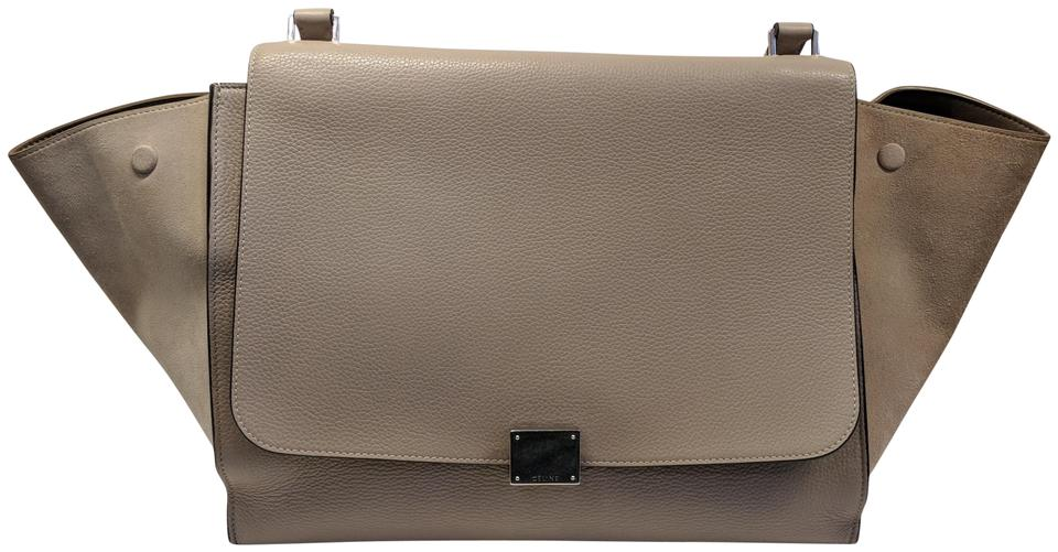 Céline Trapeze Beige Large Leather Satchel in Nude Taupe and Cream Image 0  ... 81cf3af602dbd