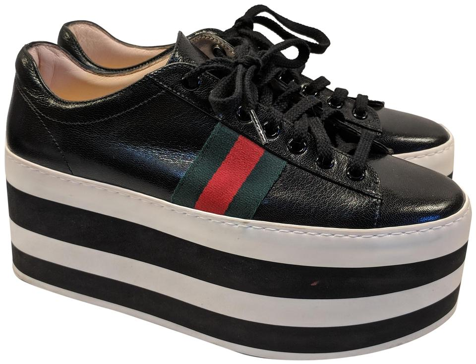 bad5c071fde Gucci Black And White Sneakers Platforms Size EU 37 (Approx. US 7 ...