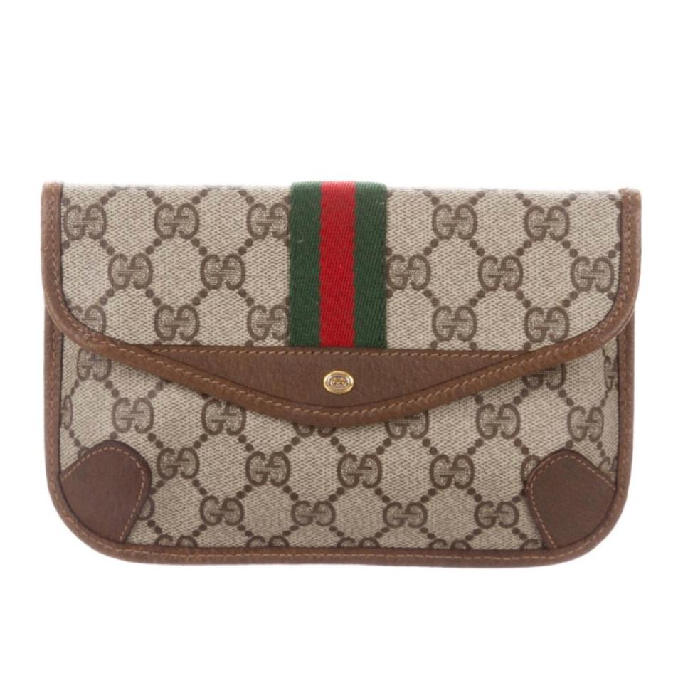3d5daa3b389580 Gucci Vintage Gg Plus Wallet Pouch Ophidia Brown Red Green Stripe ...