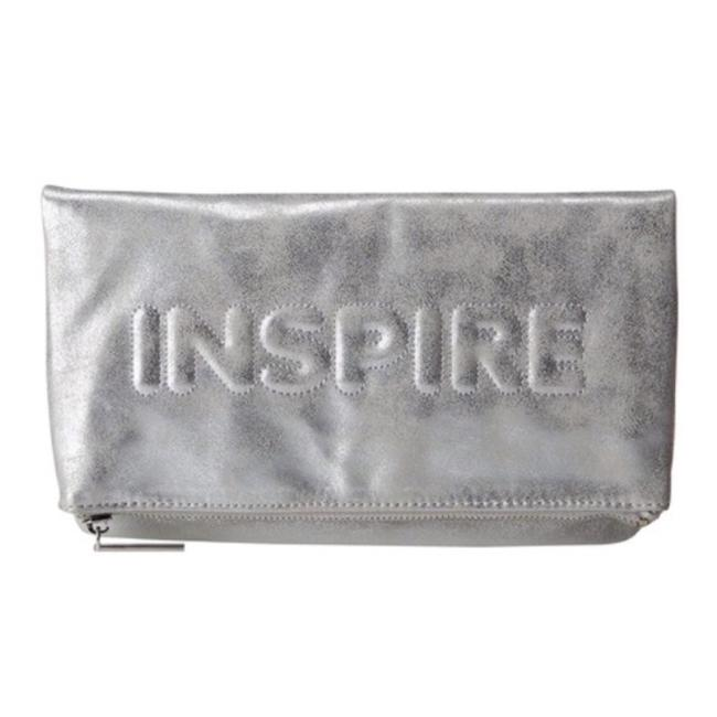 Item - Inspire Metallic Foldover Silver Faux Leather Clutch