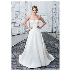 Justin Alexander Natural 8635 Gown 16 Feminine Wedding Dress Size 12 (L)