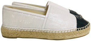 Chanel Sequined Espadrille Cc White Flats