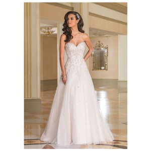 Justin Alexander Ivory Silver 8869 Gown 16 Formal Wedding Dress Size 12 (L)