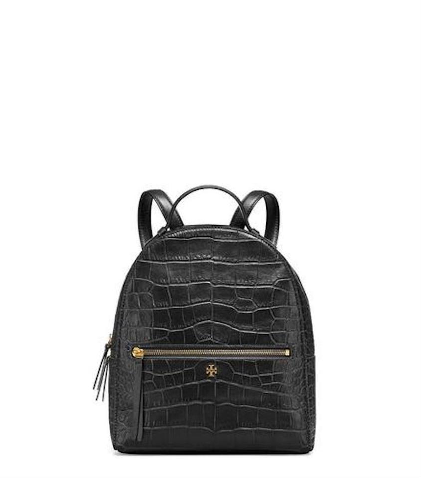 194a40d8450 Tory Burch (50702) Croc Embossed Mini Black Leather Backpack - Tradesy