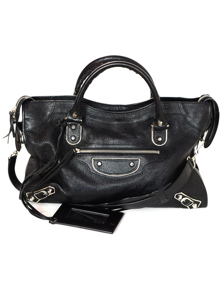 60e85c1d1e Balenciaga Chevre Silver Metallic Edge City Black Leather Shoulder ...