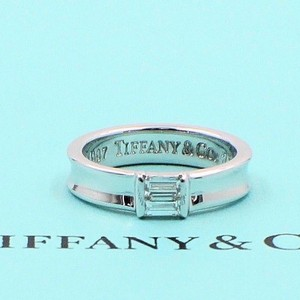 Tiffany & Co. G 18k White Gold Stackable Baguette Diamond Ring 4.5mm Women's Wedding Band