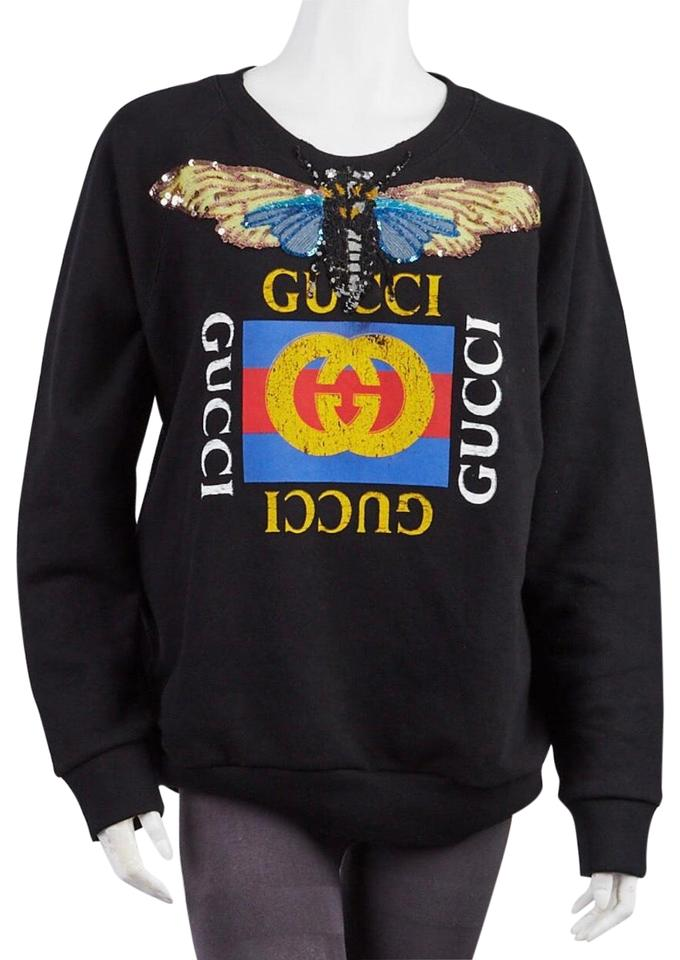 gucci butterfly logo embroidered crewneck sweatshirt black sweater
