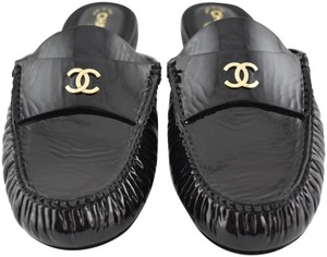 Chanel Leather Ballerina Ballet Slide Patent black Flats