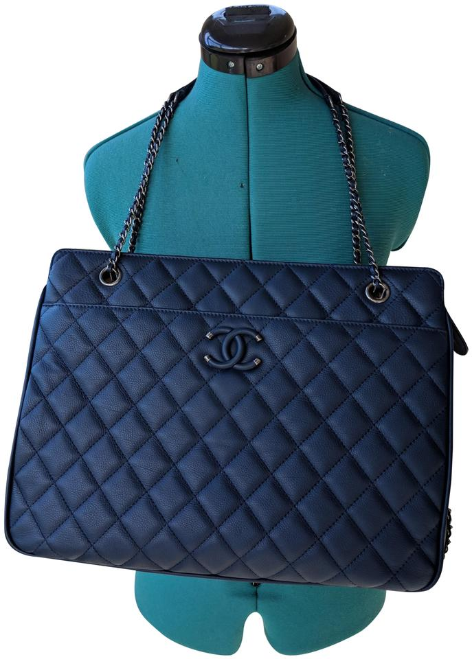 49bfae76c880 Chanel Quilted Large Shopping Chain Ruthenium Hardware Blue Calfskin ...