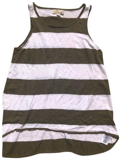 Item - Green and White Loose Fitting Striped Tank Top/Cami Size 12 (L)