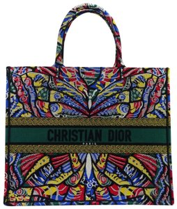 Dior Louis Vuitton Book Butterfly Canvas Embroidered Tote in Multi 236e9f06203bf
