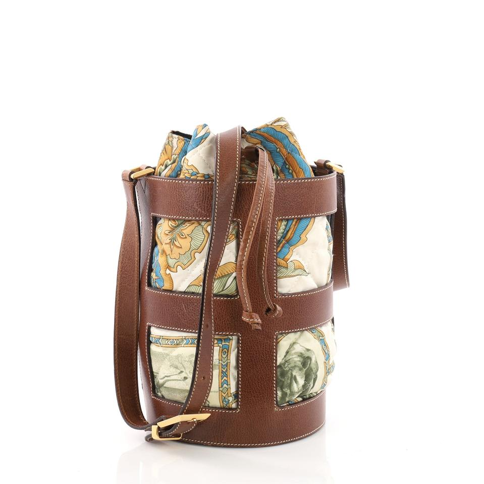 1e89a2439c Salvatore Ferragamo Bucket Quilted Printed Medi Brown Leather and Canvas  Shoulder Bag