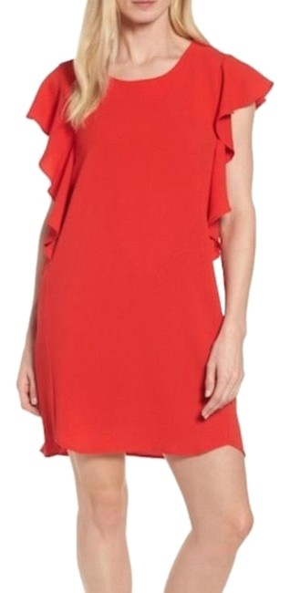 Item - Red Flutter Sleeves Sheath Mid-length Short Casual Dress Size 16 (XL, Plus 0x)