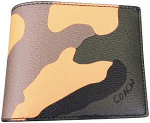 Coach 3 In 1 Camouflage Black Tangerine Multi Coin ID Wallet