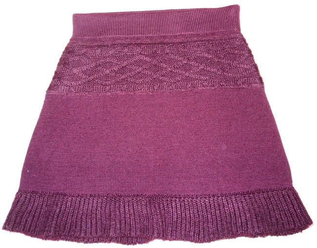 Item - Plum / Eggplant Telluride Cable Knit Wool Sweater Knitted Wool Blend S Skirt Size 6 (S, 28)