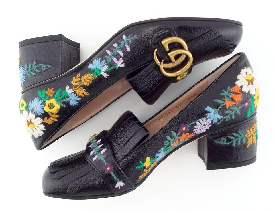 3cce94deaad Gucci Black Leather Gg Logo Embroidered Fringe Loafer Pumps Size EU 36  (Approx. US 6) Regular (M