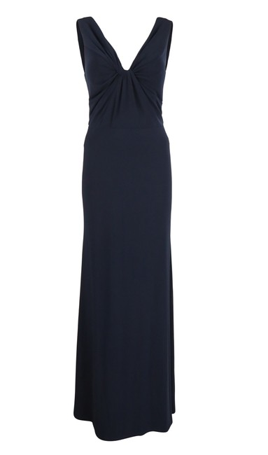 Item - Navy Blue Twist Front Sleeveless Gown