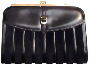 Gucci Double Gg Suede & Leather Black Clutch
