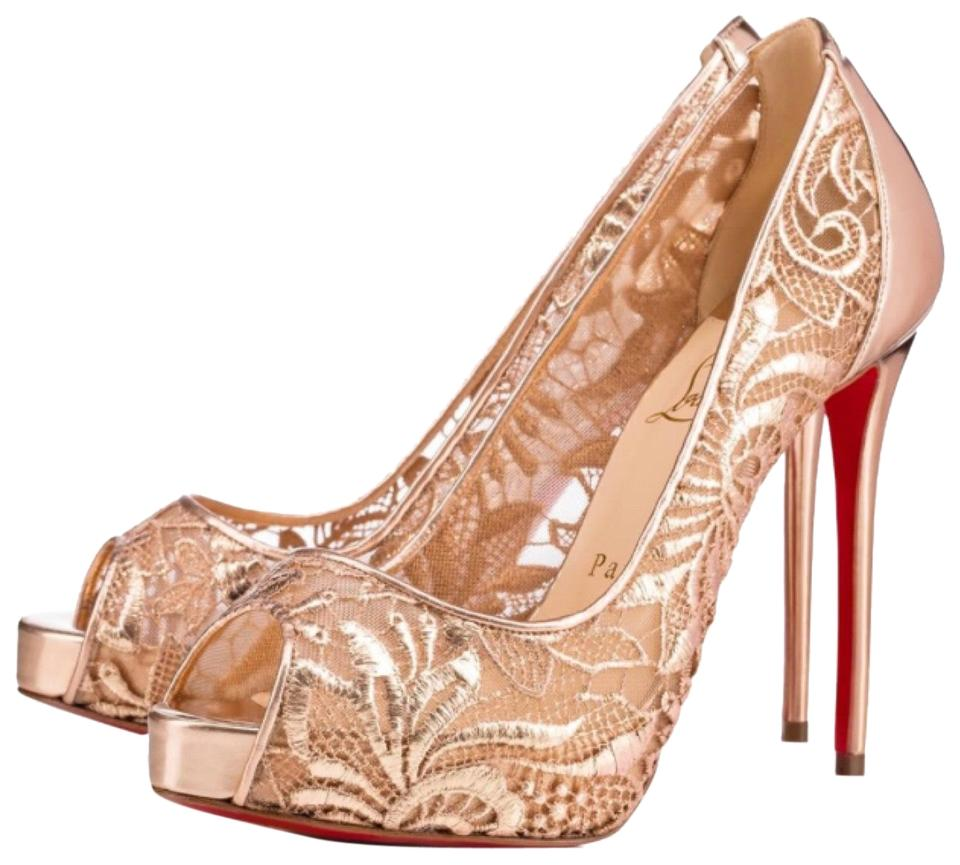 5ea31494f4a Christian Louboutin Gold Very Lace Rose Peep Toe Platform Stiletto Pumps