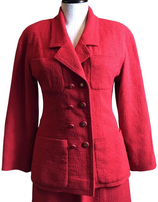 Item - Red Stunning Classic Skirt Suit Size 4 (S)