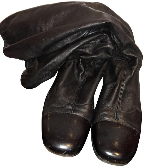 Item - Black Leather Camellia Knee-high Boots/Booties Size EU 40 (Approx. US 10) Regular (M, B)