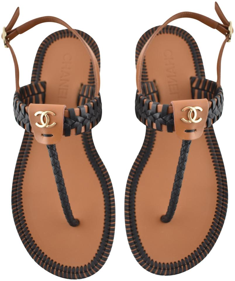d4978f023a9 Chanel Black 18c Brown Braided Cc Thong Strap Mule Slide Flat Sandals