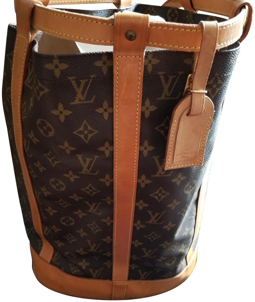 816d42bd80ba Louis Vuitton Randonnee Gm Brown and Tan Leather  Canvas Backpack ...