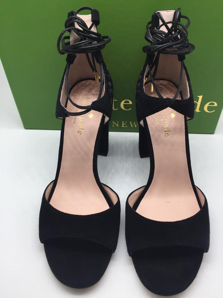 8d9df054b24e Kate Spade Suede Lace Up Embroidered Floral Black Sandals Image 9.  12345678910