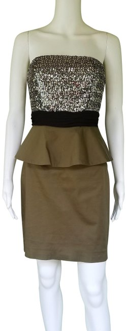 Item - Olive Green Bethany Peplum Sequin Strapless Mid-length Night Out Dress Size 6 (S)