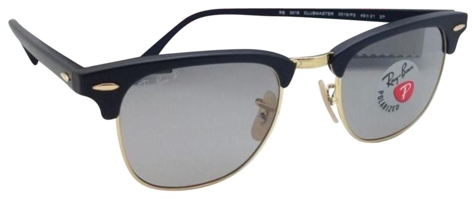 3b9f86e2a7 Ray-Ban Polarized CLUBMASTER Ray-Ban Sunglasses 3016 901S P2 Black Gold w  ...