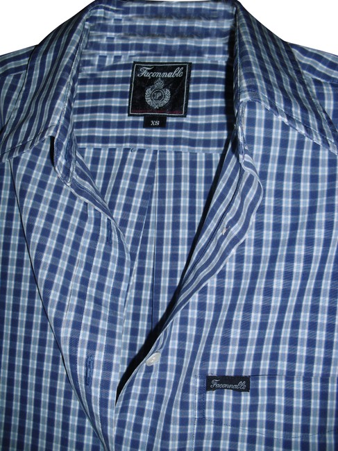 Item - Blue French Design House Checkered Cotton Logo Signature Button-down Top Size 8 (M)