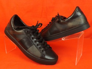 Burberry London Black Ritson Smoked Chocolate Leather Check Coated Canvas Sneakers 44 11 Shoes