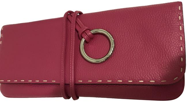 Item - Hot Silver Ring Accent Pink Leather Clutch