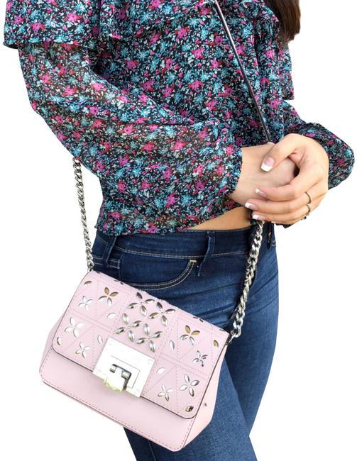 Michael Kors Flap Tina Stud Small Floral Perforated Blossom Pink Leather Cross Body Bag Michael Kors Flap Tina Stud Small Floral Perforated Blossom Pink Leather Cross Body Bag Image 1