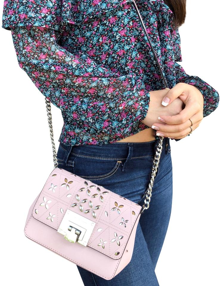 45ccff8277d016 Michael Kors Tina Stud Small Flap Blossom Floral Perforated Pink Leather Cross  Body Bag