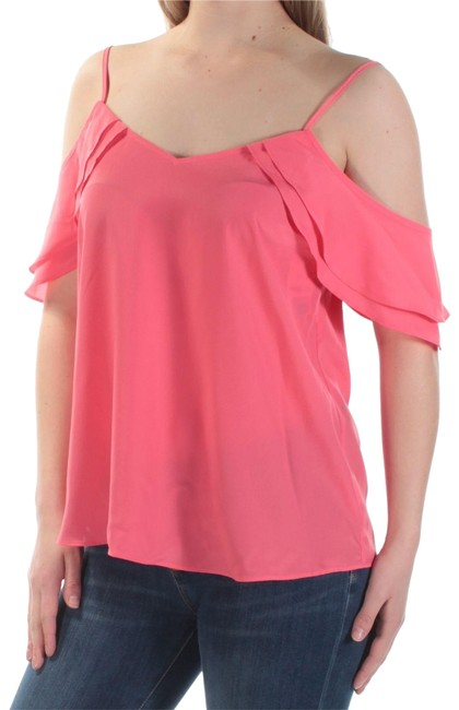 Bar lll Pink Iii Womens New 1284 Cold Shoulder Sheer Petal Sleeve Blouse Size 16 (XL, Plus 0x) Bar lll Pink Iii Womens New 1284 Cold Shoulder Sheer Petal Sleeve Blouse Size 16 (XL, Plus 0x) Image 1