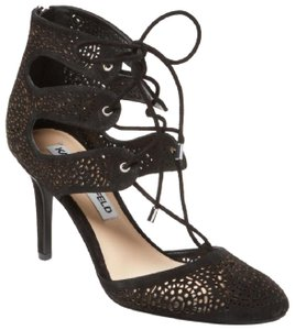 Karl Lagerfeld Black Lace-Up with Beautiful Floral Detailing Pumps