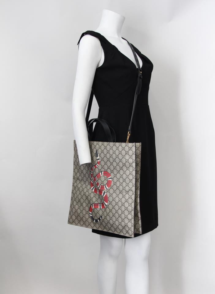 51e9949653c Gucci Kingsnake Print Soft Gg Supreme Beige Coated Fabric Tote - Tradesy