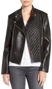 Cole Haan Asymmetrical Quilted Moto Leather Jacket