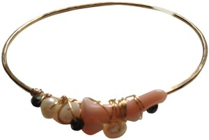 Tommy Bahama NWT Tommy Bahama Coral Beach Gold Pearls Bangle Bracelet 8""