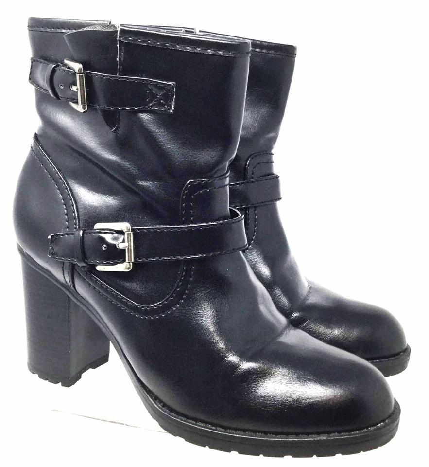 Chaps Black Dena Women's Ankle Heel 8.5b/Eu 39.5 Leather Stack Heel Ankle Boots/Booties 1bf689