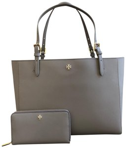 Tory Burch Leather Mother's Day 2pcs Set Gift Tote in gray