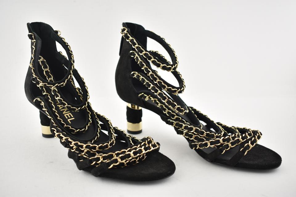 3c9ffcdf24cb0e Chanel Black 18p Suede Cc Chain Gold Strappy Sandal Kitten Low Heel ...