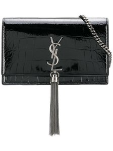 Saint Laurent Kate Monogram Croc Embossed Kate Monogram Tassel Kate Shoulder Bag